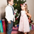 Foto de Stock  : Girl and boy near a fir-tree