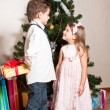 Girl and boy near a fir-tree — Foto de stock #4389573