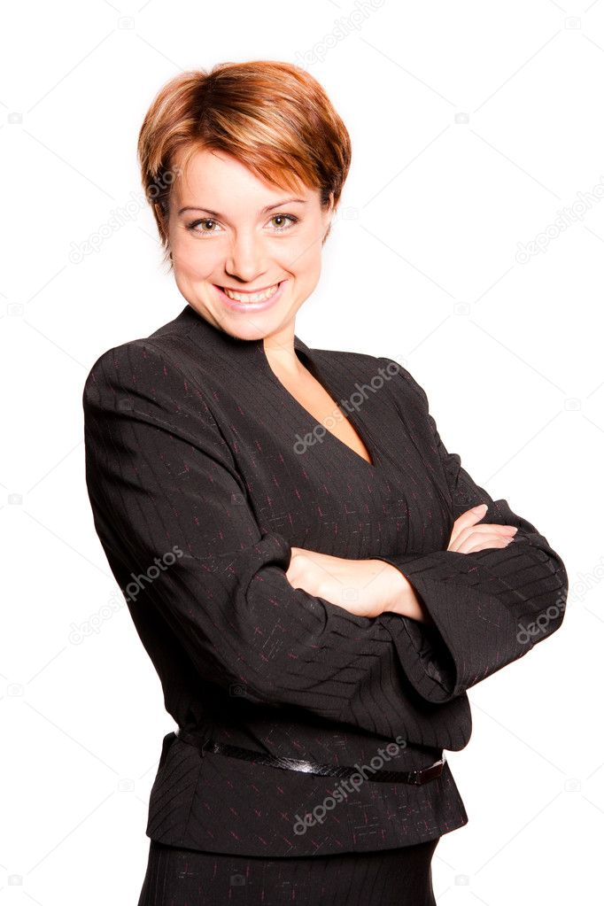 Beautiful businesswoman with her arms crossed on white background  Stock Photo #4505292