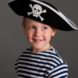Little boy in hat of pirate — Stock Photo