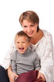 Charming woman with a son — Stock Photo