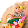 Little girl with easter eggs — Stock Photo