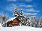 Winter holiday house — Stock Photo