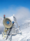 Snow cannon in the alps — Stock Photo