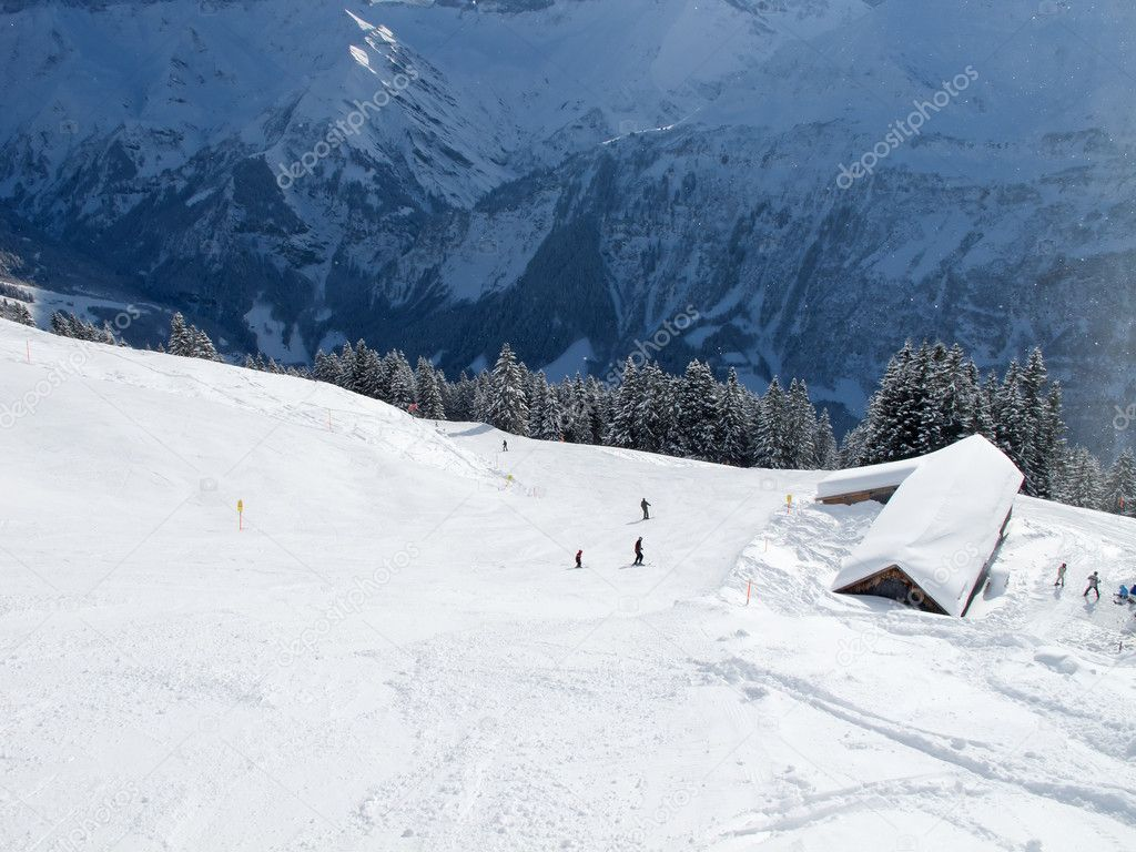 Slope on the skiing resort Elm. Switzerland — Stock Photo #4925700