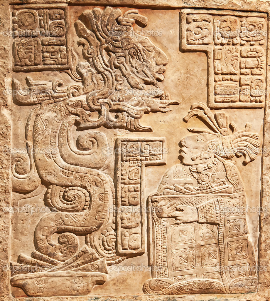 Pre-columbian mexican art (stone carving relief) — Stock Photo #5247705