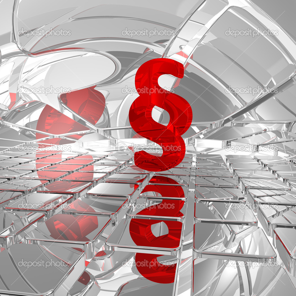 Red paragraph symbol on chrome tiles - 3d illustration  Stock Photo #4330913