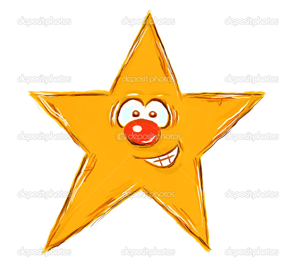 Star with comic face on white background - illustration — Stock Photo #4622258