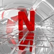N in futuristic space — Stock Photo