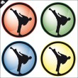Martial art colored simbol set. Vector. — Stock Photo
