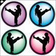 Martial art colored simbol set. Vector. - Stock Photo