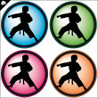 Martial art colored simbol set. Vector. - Stockfoto