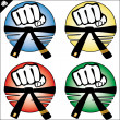 Martial arts colored simbol set. Vector. - Stock Photo