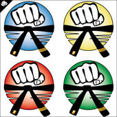 Martial arts colored simbol set. Vector. — Stock Photo