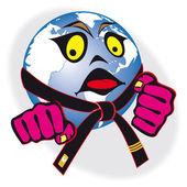 Humor original symbol martial arts world cup, tournament. — Stock Vector