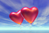 Two heart-shaped baloons — Stock Photo
