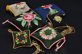 Pillows with embroidery handiwork — Stock Photo