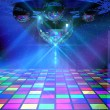 Colorful dance floor with several shining mirror balls — Stock Photo #5184763
