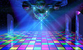 Colorful dance floor with several shining mirror balls — Stock Photo