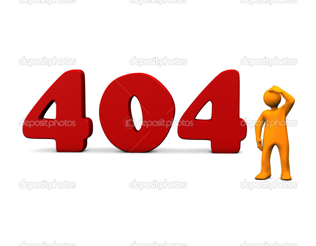 Orange cartoon with red 404 text on white.  Stock Photo #4011603