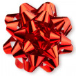 Large glossy red bow - Stock Photo