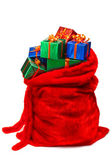 Santa's sack filled with gifts — Stock Photo