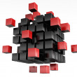 3d blocks red and black color. - Stock Photo
