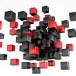 3d blocks red and black color. — ストック写真