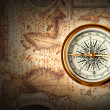 Old compass on ancient map — Stock Photo #3940159