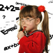 Royalty-Free Stock Photo: The girl and mathematical formulas