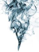 Blue color smoke from white background — Stock Photo