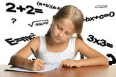 The girl and mathematical formulas — Stock Photo