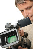 The man with a videocamera — Stock Photo