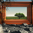 Frame with green tree - Stock Photo