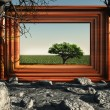 Stock Photo: Frame with green tree