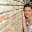 The bride at a wall - Stockfoto