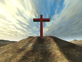 Cross on a hill — Stock Photo