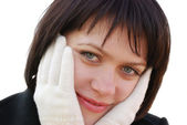 The girl in winter gloves — Stock Photo