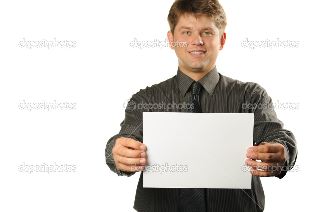 Young the man holds blank signs. It is isolated on a white background  Stock Photo #4193179