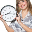 Business womwith clock in hands — Stock Photo #5198171