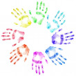 Color print of human hands — Stock Photo