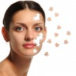 Female face close up and details puzzle — Stock Photo