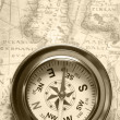Old compass on ancient map — Stock Photo #5198680