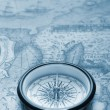 Old compass on ancient map — Stock Photo #5198689