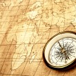 Compass on old map. — 图库照片