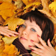 The girl in autumn leaves — Stock Photo #5198949