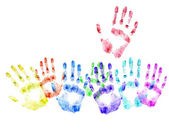 Color print of human hands.Concept of voting — Stock Photo