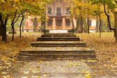 Autumn park with a footpath to a building — ストック写真