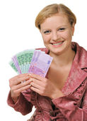 The young woman holds the European currency in hands — Stock Photo