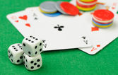 Dices and playing cards — Stock Photo